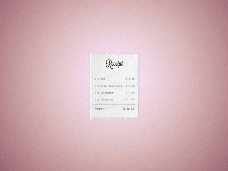 Receipt Template Free Psd File