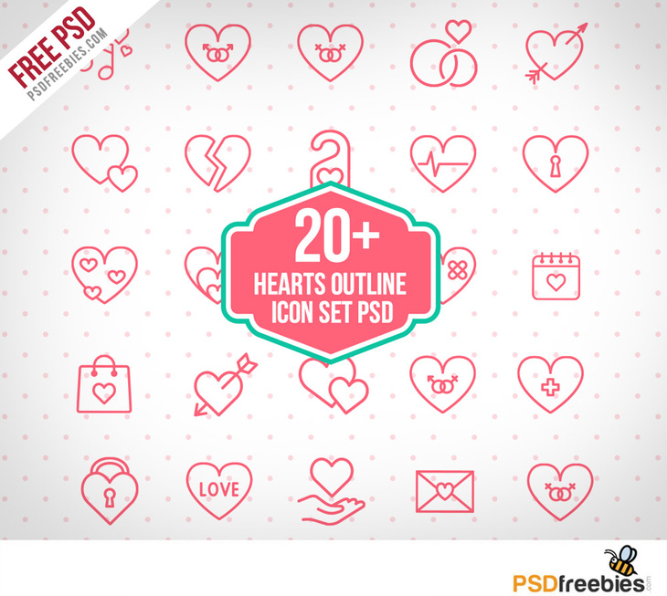 Free PSD Hearts Outline Icon Set
