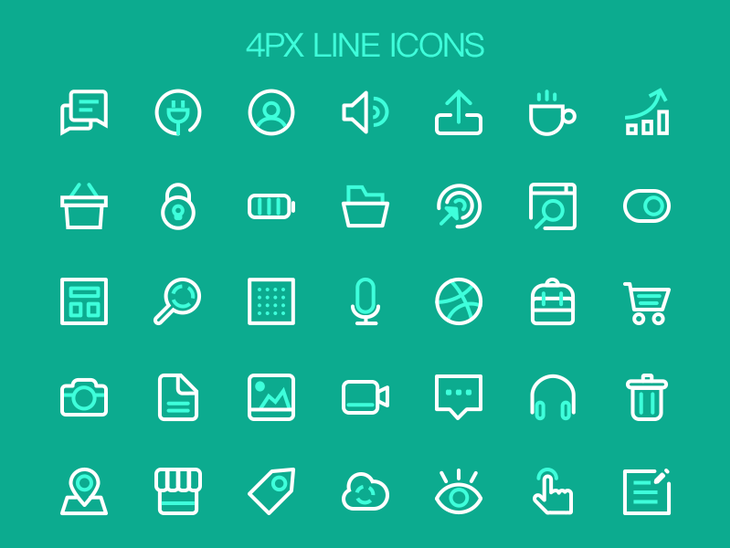 35 Line Icons Free PSD
