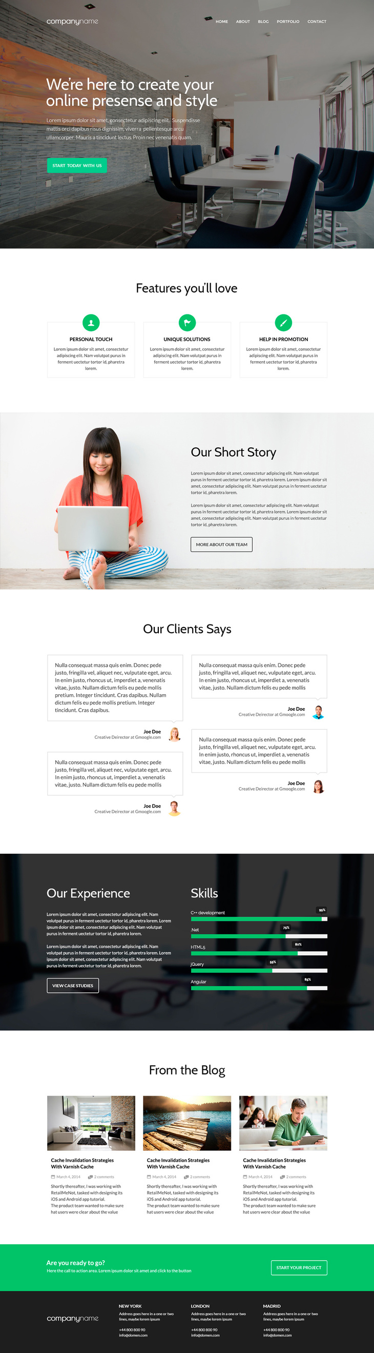Free Business Website PSD Template