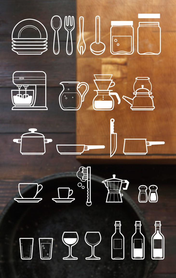 Cutlery Outline Icons PSD