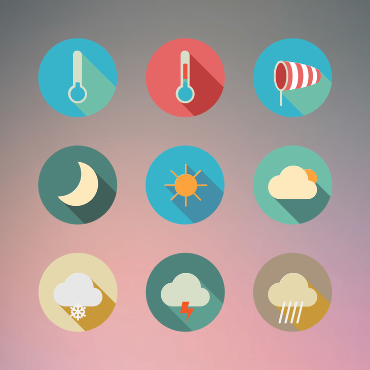 Flat Weather PSD Icon Pack