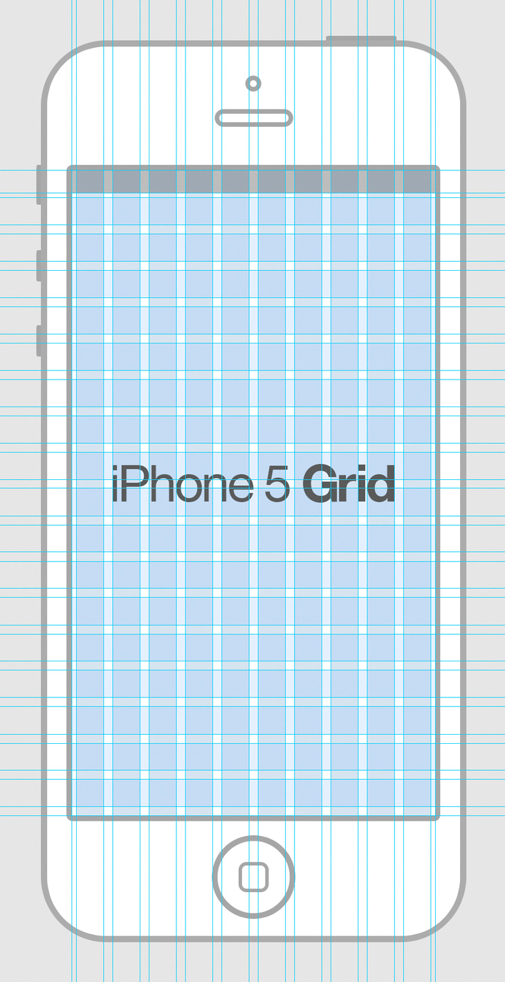 iPhone 5 Wireframe Grid PSD