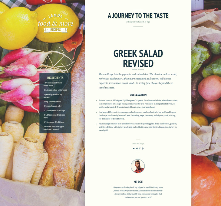 Culinary Blog PSD Template
