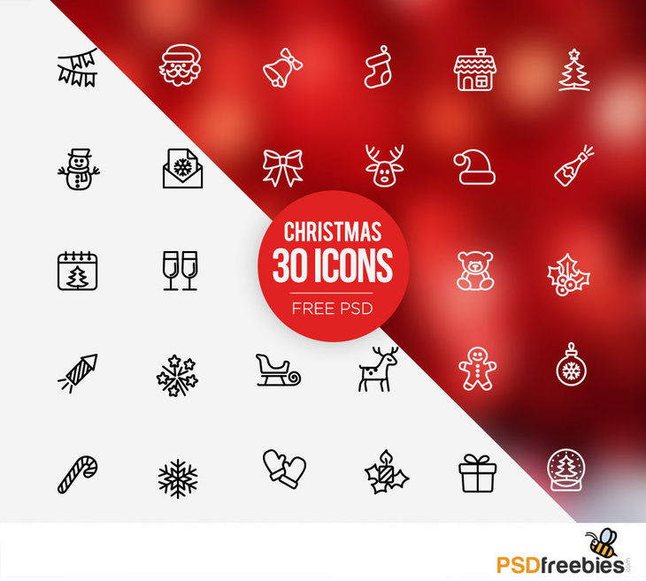 30 Free PSD Christmas Icons