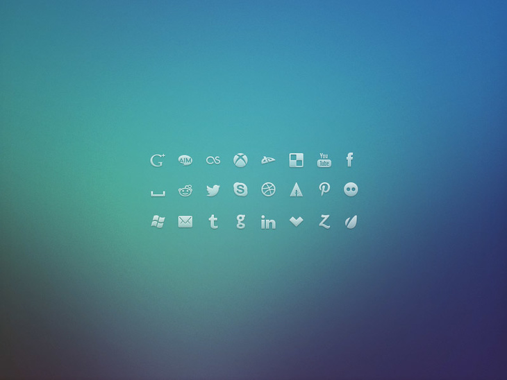 24 Social Network Glyph Icons