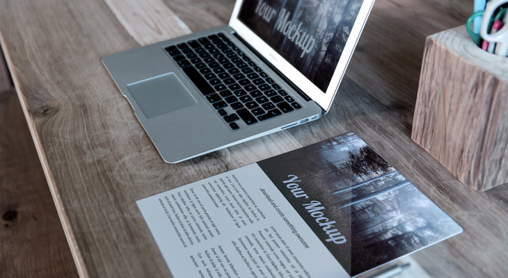 Letter and MacBook PSD Mockup