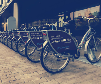 Bicycle Advertising Free PSD Mockup