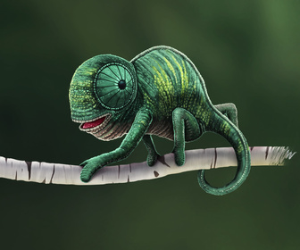Free PSD Chameleon Illustration