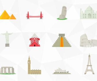 12 Famous Landmarks Icons