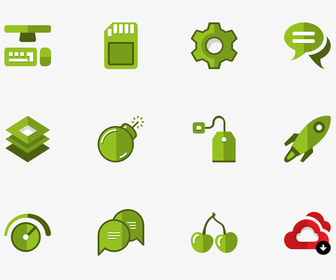 Green Set of Flat Icons