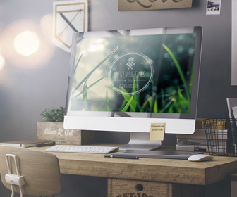 Free iMac Workplace PSD Mockup