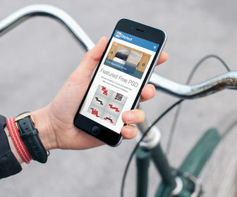 Cyclist with iPhone 6 Freee Mockup